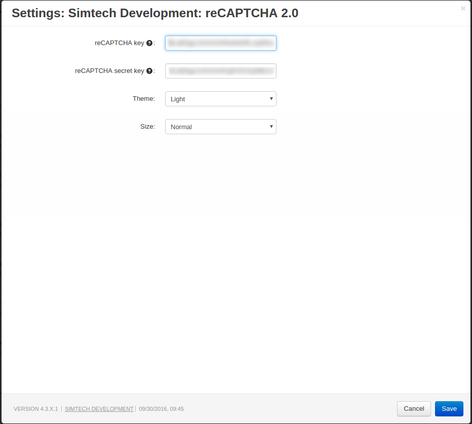 reCAPTCHA settings in the add-on