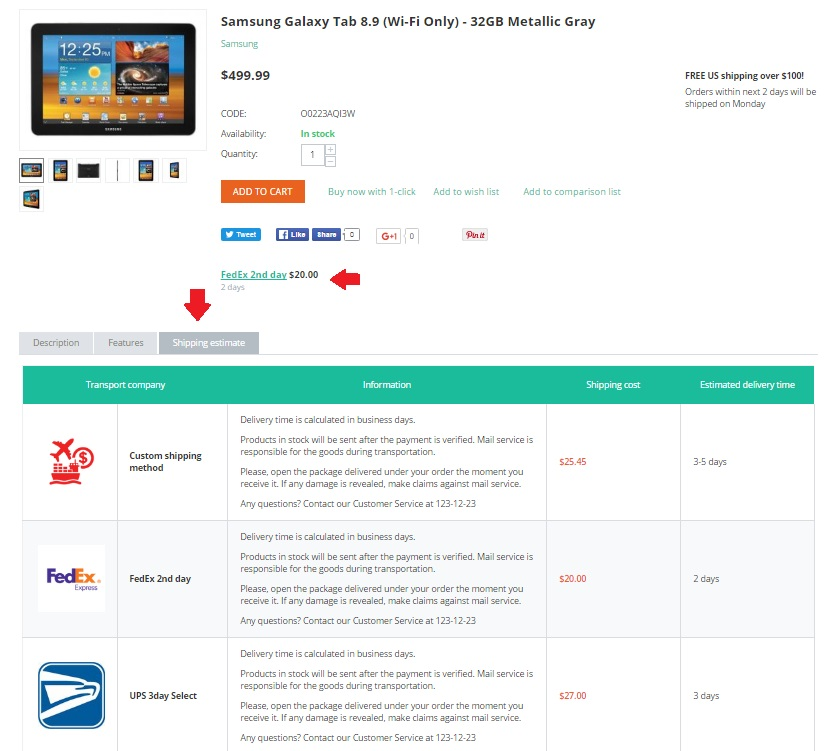 Shipping Estimate add-on for cs-cart