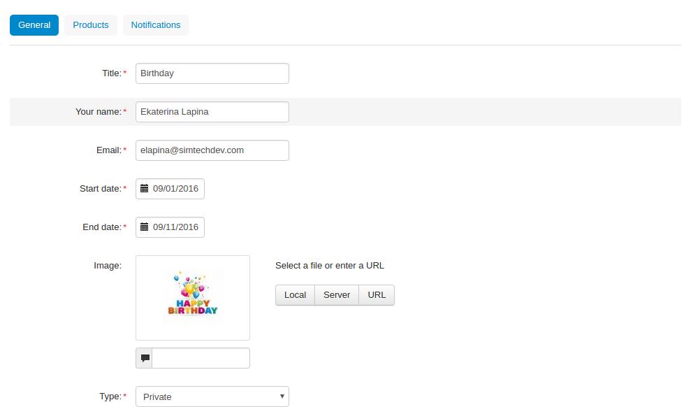 Gift Registry add-on for CS-Cart