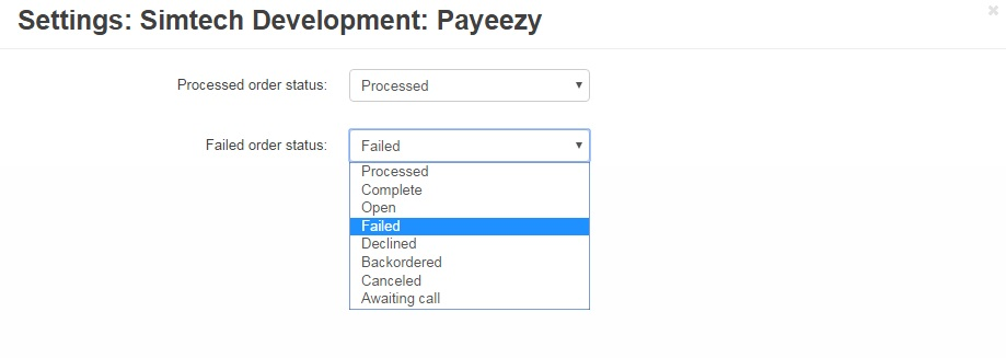 Payeezy add-on's setting
