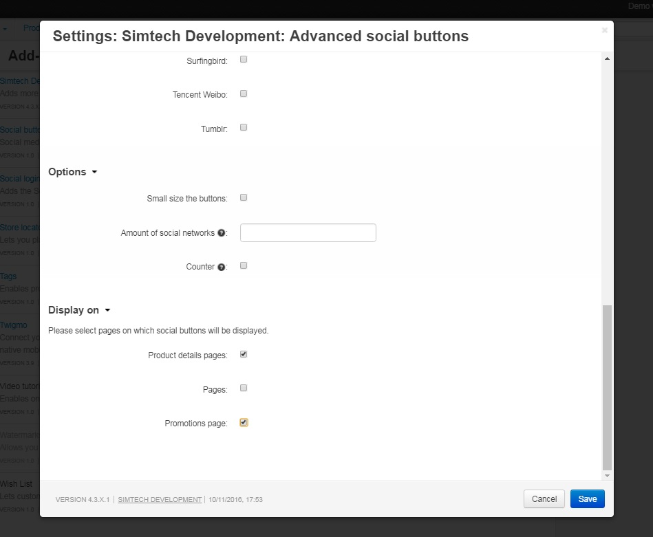 Advanced Social Buttons Settings